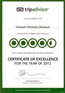 Certificat of Excellence for the year of 2012